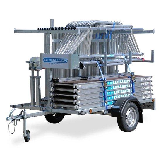 Steigeraanhanger 250 + Rolsteiger standaard 135x250 10,2m werkhoogte + enkele voorloopleuning